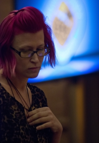 Trish Savannahs walks back to her seat after speaking out against an ordinance that would prohibit the sale of certain animals during a Clark County Commission meeting in the Clark County Governme ...