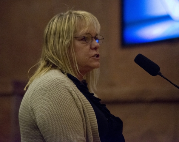 Tami Simon, the network events supervisor for the Best Friends Animal Society, speaks out in favor of an ordinance that would prohibit the sale of certain animals during a Clark County Commission  ...