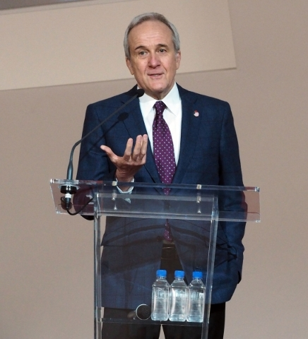 Larry Ruvo speaks at an event announcing a $1 million donation from the Ultimate Fighting Championship for brain research at the Lou Ruvo Center for Brain Health in Las Vegas, Friday, Feb. 5, 2016 ...