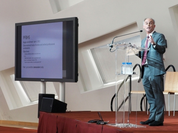 Dr. Charles Bernick, of the Lou Ruvo Center for Brain Health, speaks at an event announcing a $1 million donation from the Ultimate Fighting Championship for brain research at the Ruvo Center in L ...