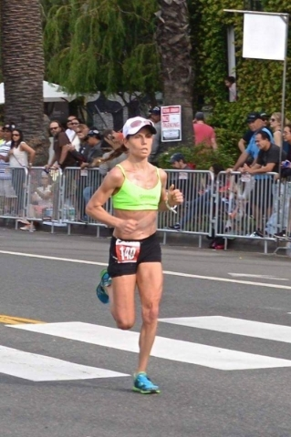 Las Vegas' Christina Vergara Aleshire runs in the 2015 Los Angeles Marathon. She will return to L.A. on Feb. 13 for the U.S. Olympic Team Trials in the marathon. COURTESY PHOTO