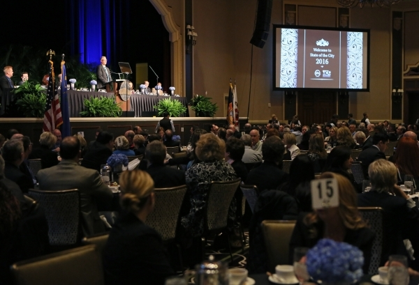 Henderson Mayor Andy Hafen delivers the annual State of the City address at Green Valley Ranch hotel-casino Wednesday, Feb. 3, 2016, in Henderson. Mayor Hafen reflected upon the cityís economic ...