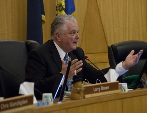 Clark County Commission Chairman Steve Sisolak talks during a commission meeting in the Clark County Government Center in Las Vegas on Tuesday, Feb. 2, 2016. The commission discussed a proposed or ...