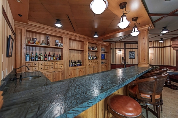 The game room's  full bar has a double tap system. Another good place to watch the Super Bowl. COURTESY