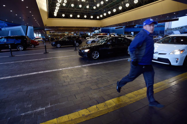 Valet parking personnel at the MGM Grand hotel-casino Tuesday, Feb. 2, 2016. David Becker/Las Vegas Review-Journal