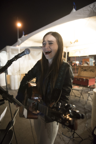 Noelle Chiodo performs during the First Friday arts festival in downtown Las Vegas' 18b Arts District Friday, Feb. 5, 2016. The festival resumed after several months off to reorganize. Jason ...