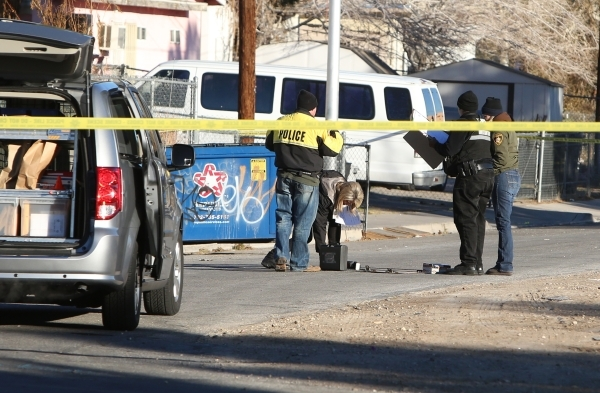 Las Vegas police are investigating a homicide at an apartment complex near downtown on 2300 Olive Street, near where Charleston Boulevard meets Fremont Street on Wednesday, Feb. 3, 2016. Bizuayehu ...