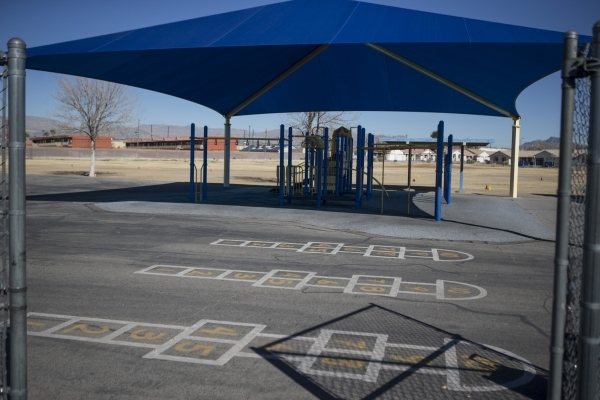 A Lomie Heard Elementary School playground inside Nellis Air Force Base is seen on Tuesday, Feb. 9, 2016, in Las Vegas. The school will close its doors at the end of the school year and will be re ...