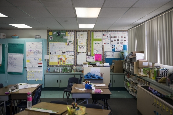 A Lomie Heard Elementary School classroom inside Nellis Air Force Base is seen on Tuesday, Feb. 9, 2016, in Las Vegas. The school will close its doors at the end of the school year and will be rep ...