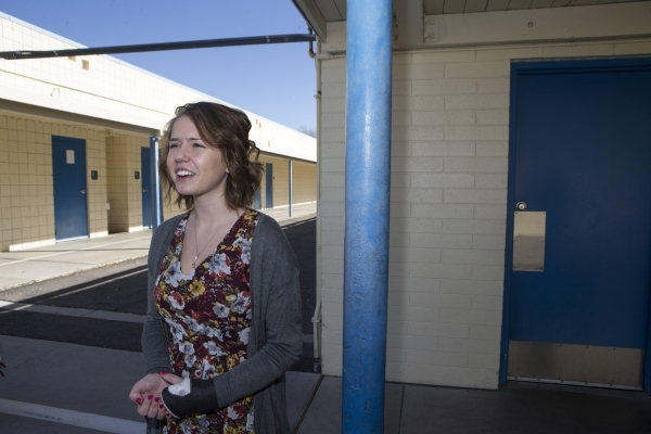 Cristina Manns, a former student and now kindergarten teacher at Lomie Heard Elementary School, is interviewed at Lomie Heard Elementary School inside Nellis Air Force Base is seen on Tuesday, Feb ...