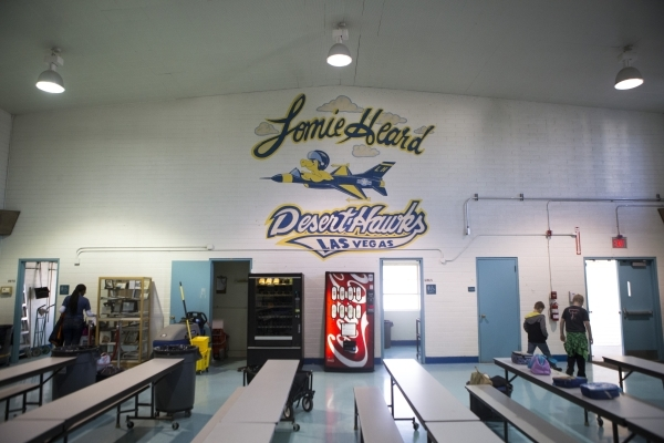 The Lomie Heard Elementary School cafeteria inside Nellis Air Force Base is seen on Tuesday, Feb. 9, 2016, in Las Vegas. The school will close its doors at the end of the school year and will be r ...