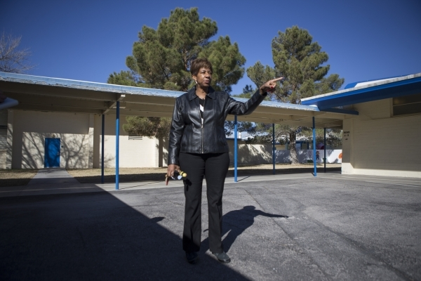 Pamela Goynes-Brown, assistant principal at Lomie Heard Elementary School and North Las Vegas City Council member, gives a tour of Lomie Heard Elementary School inside Nellis Air Force Base on Tue ...