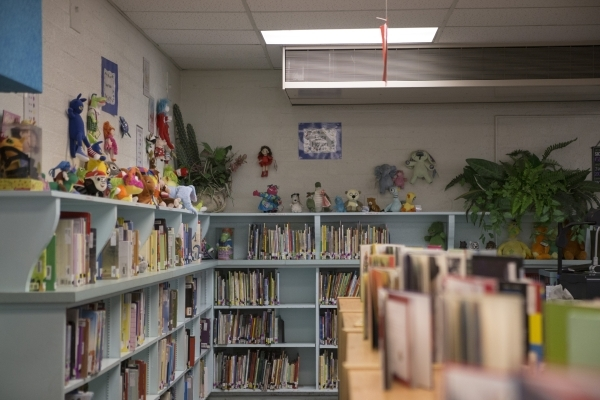 The Lomie Heard Elementary School library inside Nellis Air Force Base is seen on Tuesday, Feb. 9, 2016, in Las Vegas. The school will close its doors at the end of the school year and will be rep ...