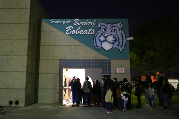People line up for family math and science night at Bendorf Elementary School in Las Vegas on Thursday, Feb. 4, 2016. The school is one of two in the entire state to receive the prestigious design ...