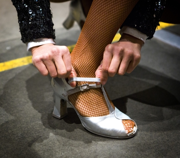 Jubilee dancer Dani Flahive shows a custom built high heal dancing shoe while giving a Jubilee Theater tour at Bally's, 3645 South Las Vegas Boulevard, on Wednesday, Feb. 3, 2016. Jeff Schei ...