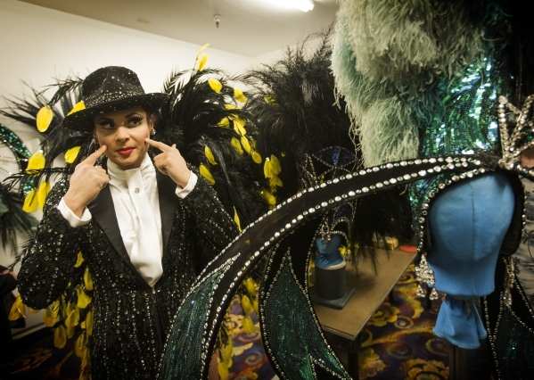 Jubilee dancer Dani Flahive explains what kind of make up she uses while giving a Jubilee Theater tour at Bally's, 3645 South Las Vegas Boulevard, on Wednesday, Feb. 3, 2016. Jeff Scheid/Las ...