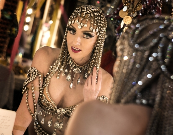 Jubilee feature dancer Elyse Corbin looks into a mirror at Bally's, 3645 South Las Vegas Boulevard, on Thursday, Feb. 4, 2016. Jeff Scheid/Las Vegas Review-Journal Follow @jlscheid