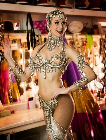 Jubilee feature dancer Katherine Schwing poise for a photo in the dressing room at Bally's, 3645 South Las Vegas Boulevard, on Thursday, Feb. 4, 2016. Jeff Scheid/Las Vegas Review-Journal Fo ...