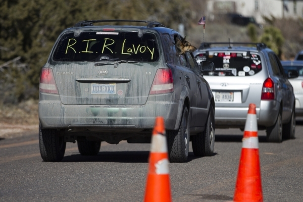 A car drives by outside of the Kanab Utah Kaibab Stake Mormon church where the funeral for Robert LaVoy Finicum took place on Friday, Feb. 5, 2016, in Kanab, Utah. Erik Verduzco/Las Vegas Review-J ...