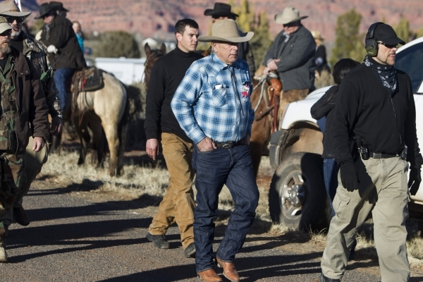 Bunkerville rancher Cliven Bundy is seen following the funeral service for Robert LaVoy Finicum at the Kanab Utah Kaibab Stake Mormon church on Friday, Feb. 5, 2016, in Kanab, Utah. Erik Verduzco/ ...