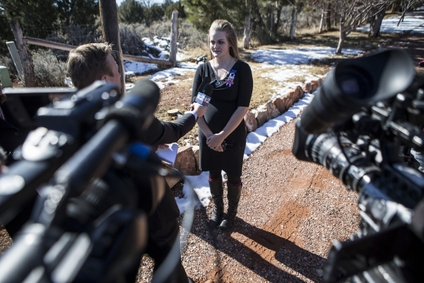 Brittney Beck, 26, Robert LaVoy Finicum's daughter, speaks to the media outside of the Kanab Utah Kaibab Stake during the funeral of his father on Friday, Feb. 5, 2016, in Kanab, Utah. Erik  ...