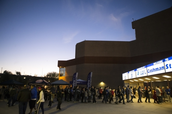 Fans line up outside of Cashman Field for the Major League Soccer friendly game between the Los Angeles Galaxy and San Jose Earthquakes on Saturday, Feb. 13, 2016, in Las Vegas. Erik Verduzco/Las  ...