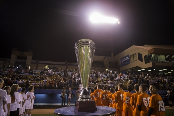 The California Clasico trophy is seen before the start of the game between Los Angeles Galaxy and San Jose Earthquakes in their Major League Soccer pre-season game at Cashman Field on Saturday, Fe ...