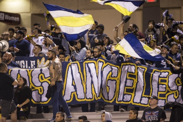 Los Angeles Galaxy's fans cheer for their team in their Major League Soccer pre-season game against  San Jose Earthquakes at Cashman Field on Saturday, Feb. 13, 2016, in Las Vegas. Los Angel ...
