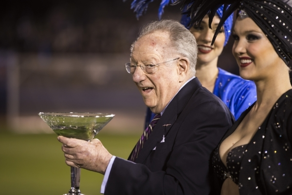 Former Las Vegas Mayor Oscar Goodman stands on the field before the Major League Soccer pre-season game between Los Angeles Galaxy and San Jose Earthquakes at Cashman Field on Saturday, Feb. 13, 2 ...