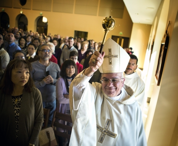 Reverend Joseph A. Pepe Bishop of Las Vegas blesses St. Anthony of Padua Roman Catholic Church, 6350 N. Fort  Apache Road, on Friday, Feb. 5, 2016. The church celebrating its first Mass. and bless ...