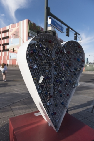 The Love Locket which was vandalized last month at Downtown Container Park at 707 Fremont St. in Las Vegas is seen before new locks are added on Thursday, Feb. 4, 2016.  Profits from one hundred l ...