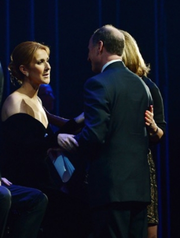 Celine Dion, left, greets well-wishers before the tribute to her husband and longtime manager Rene Angelil at Caesars Palace on Wednesday, Feb. 3, 2016. Courtesy, Denise Truscello/WireImage