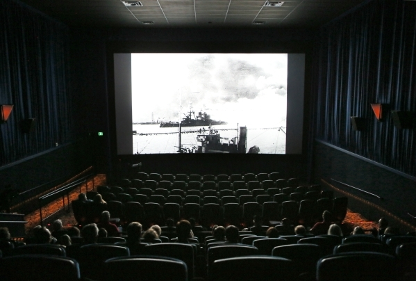 """The documentary """"Battleship NevadaÓ plays for a private audience including U.S. Navy veterans at South Point hotel-casino Monday, Feb. 8, 2016, in Las Vegas. The Chuck Pride documentary pr ..."""
