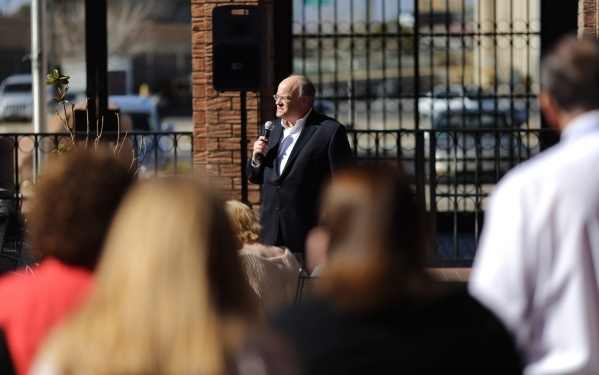 Keith Moyer speaks to Las Vegas Review-Journal employees after being announced as the new Editor of the paper on Friday, Feb. 5, 2016 in Las Vegas. Brett Le Blanc/Las Vegas Review-Journal Follow @ ...