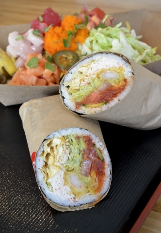 The Twin Dragon, comprised of a sushi burrito and a 3 Amigo Nacho with house-made taro chips, is shown at Soho SushiBurrito at 2600 W. Sahara Ave. in Las Vegas on Saturday, Feb. 6, 2016. Bill Hugh ...