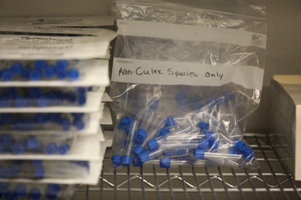 Bags of tubes used to sort mosquitos sit on a shelf at the Southern Nevada Health District office in Las Vegas on Friday, Feb. 5, 2016. The SNHD traps more than 26,000 mosquitos a year, and while  ...