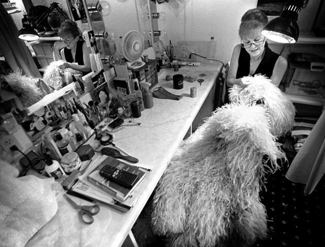 "A ""Jubilee!"" wardrobe mistress repairs a costume during a 2001 show at Bally's, 3645 Las Vegas Blvd. South. Jeff Scheid/Las Vegas Review-Journal Follow @jlscheid"