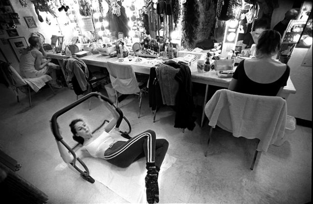 "A ""Jubilee!"" dancer does sit-ups in the  dressing room before a 2001 show at Bally's, 3645 Las Vegas Blvd. South. Jeff Scheid/Las Vegas Review-Journal Follow @jlscheid"