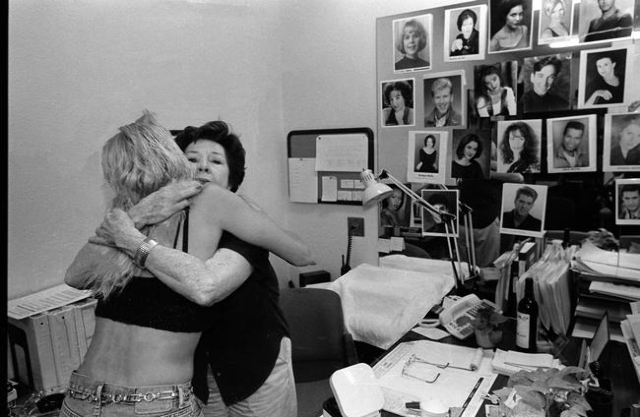 "Dancer Aki hugs Fluff LeCoque, company manager for ""Jubilee!,"" after her final show in 2001 at Bally's, 3645 Las Vegas Blvd. South. Jeff Scheid/Las Vegas Review-Journal Follow @jls ..."