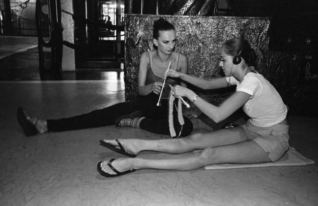 """Jubilee!"" dancers knit backstage before a show at Bally's, 3645 Las Vegas Blvd. South. Jeff Scheid/Las Vegas Review-Journal Follow @jlscheid"