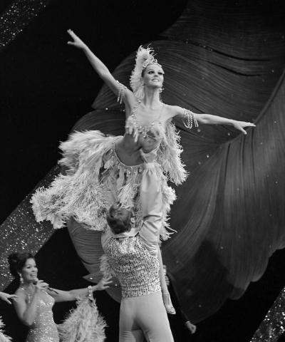 A showgirl is lifted during the show on the opening night of Jubilee at the MGM Grand Friday, July 31, 1981. Courtesy, John Litty/Las Vegas News Bureau