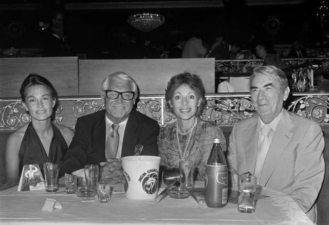 Barbara Harris, Cary Grant, Veronique Peck and Gregory Peck are seen on the opening night of Jubilee at the MGM Grand Friday, July 31, 1981. Courtesy, John Litty/Las Vegas News Bureau