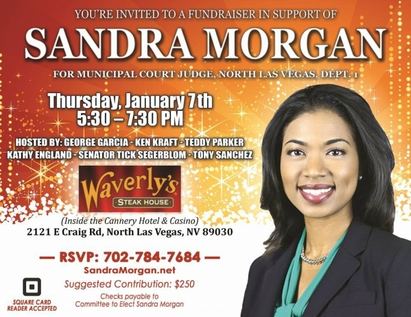 A flier for a fundraiser to elect North Las Vegas City Attorney Sandra Morgan to a Municipal Court judge seat in the event the Nevada Supreme Court allows a recall of the sitting judge to proceed.