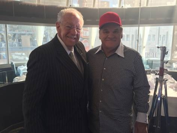 Oscar Goodman and Pete Rose appear in a commercial that promotes Wiliam Hill's mobile sports wagering application. (Courtesy)
