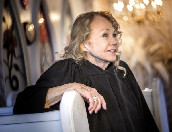 Charolette Richards,  owner of A Little White Wedding Chapel, 1301 Las Vegas South Boulevard, sits in a chapel on Monday, Feb. 8, 2016. For over 60 years Richards has officiated the wedding of  ov ...