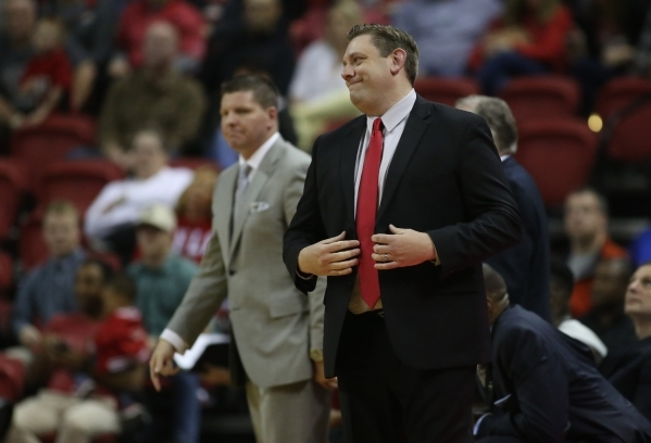 UNLV Rebels head coach Todd Simon reacts to a call during a game against Colorado State at the Thomas & Mack Center in Las Vegas on Saturday, Feb. 13, 2016. Brett Le Blanc/Las Vegas Review-Jou ...