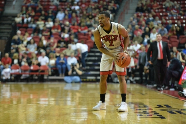 UNLV Rebels guard Jerome Seagears (2) looks for an open teammate during a game against Colorado State at the Thomas & Mack Center in Las Vegas on Saturday, Feb. 13, 2016. Brett Le Blanc/Las Ve ...