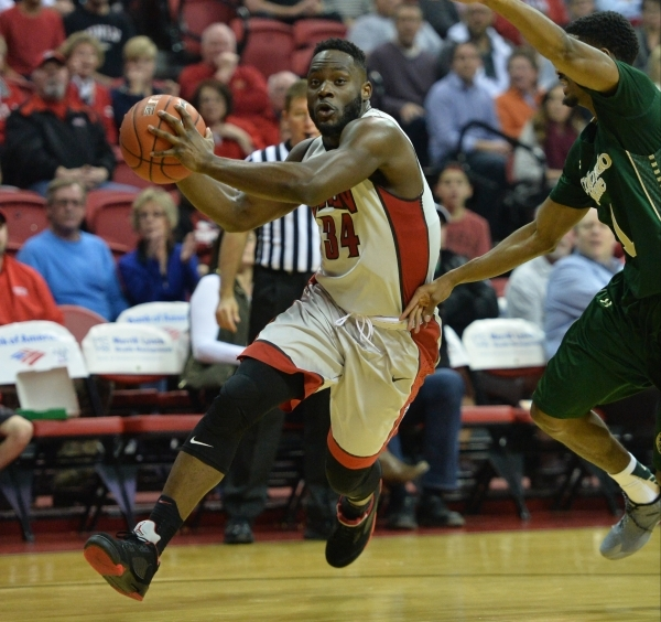 UNLV Rebels guard Ike Nwamu (34) drives the ball to the hoop during a game against Colorado State at the Thomas & Mack Center in Las Vegas on Saturday, Feb. 13, 2016. Brett Le Blanc/Las Vegas  ...