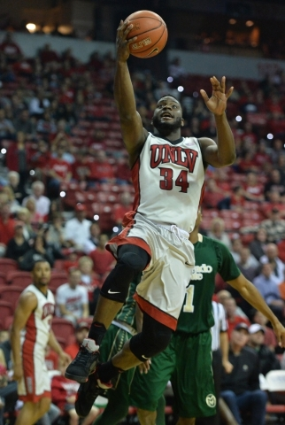 UNLV Rebels guard Ike Nwamu (34) takes a shot during a game against Colorado State at the Thomas & Mack Center in Las Vegas on Saturday, Feb. 13, 2016. Brett Le Blanc/Las Vegas Review-Journal  ...