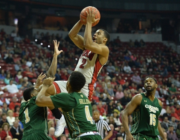 UNLV Rebels guard Jerome Seagears (2) shoots the ball over the Colorado State Rams defense during a game against Colorado State at the Thomas & Mack Center in Las Vegas on Saturday, Feb. 13, 2 ...